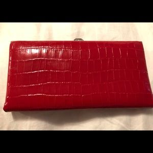 Large Lodis Red Croc Embossed Ballet Wallet
